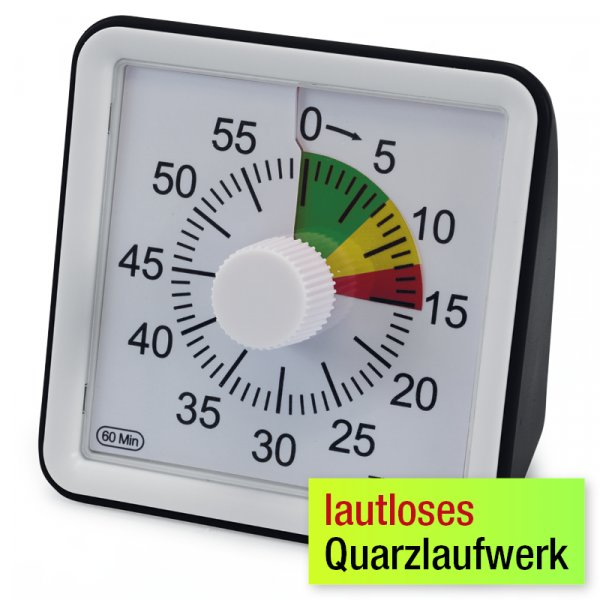 """TimeTEX Zeitdauer-Uhr """"lautlos"""" compact mit Ampelscheibe"""