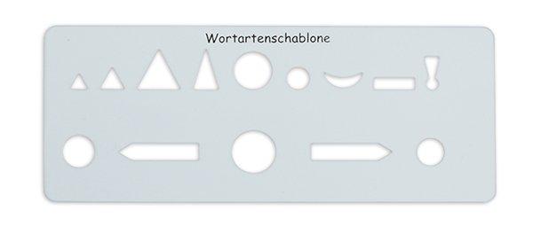 Wortarten-Schablone, ca. 175 x 70 mm, 1 mm Stärke