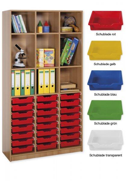 Material-Hochschrank-Regal L, Basistiefe, 9 Fachböden, 24 Schubladen L