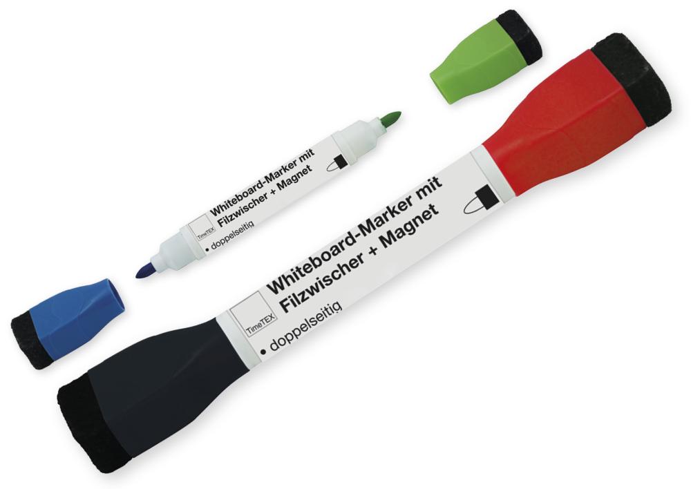 whiteboard marker doppelspitze mit filzwischer magnet timetex ch