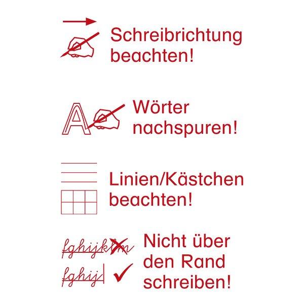 """Siebdruck-Stempel """"Perpetuum"""", 4 in 1, """"Schreibrichtung beachten"""""""
